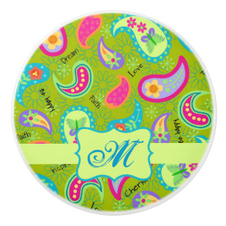 Inicial moderna verde oliva del monograma de pomo de cerámica