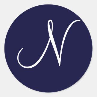 """Inicial """"N """" del monograma de los azules marinos y Pegatina Redonda"""