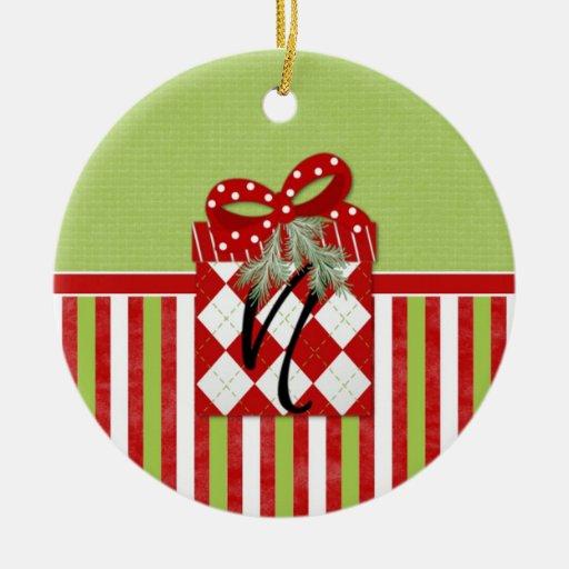 Inicial N del regalo del navidad Adorno Redondo De Cerámica