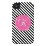 Inicial negra, blanca y rosada del personalizado d Case-Mate iPhone 4 protector