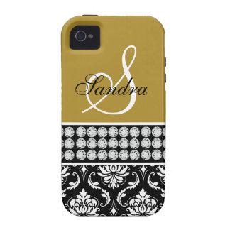 Inicial negra del nombre del damasco del oro iPhone 4/4S fundas