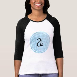 Inicial personalizada círculo azul del monograma d camisetas