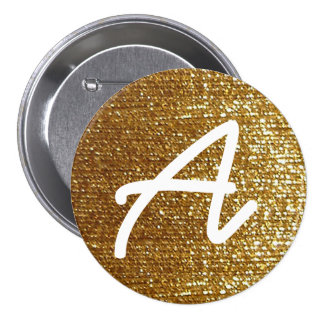 inicial personalizada de oro femenina pin redondo de 3 pulgadas