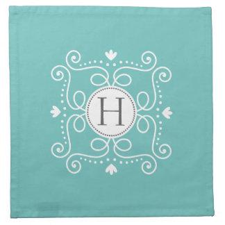 Inicial personalizada ornamento azul del monograma servilletas