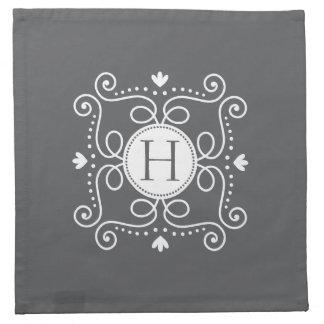 Inicial personalizada ornamento gris blanco del servilletas de papel