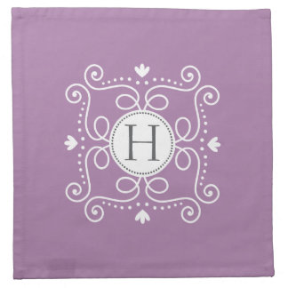 Inicial personalizada ornamento púrpura del servilletas imprimidas