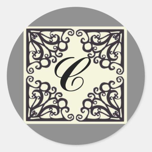 Inicial personalizada pegatina de Scrollwork