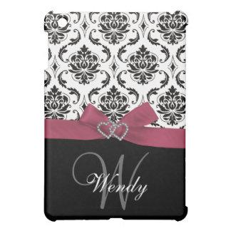 Inicial personalizada, rosa, damasco negro iPad mini cobertura