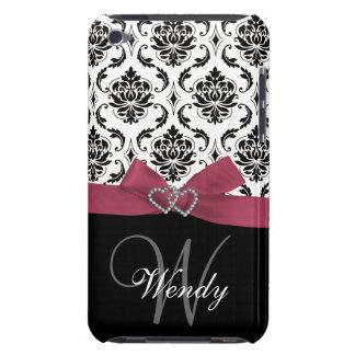 Inicial personalizada, rosa, modelo negro del dama iPod touch Case-Mate funda