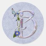 Inicial preciosa B de la mariposa Pegatina Redonda