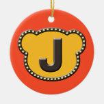 Inicial principal J del oso Ornamentos De Reyes Magos