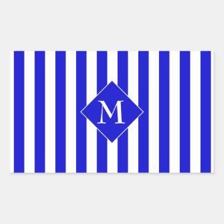 Inicial rayada del blanco azul elegante con clase pegatina rectangular