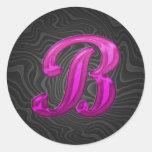 Inicial reluciente rosada - B Pegatina Redonda