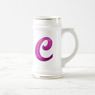 Inicial reluciente rosada - C Taza De Café