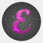 Inicial reluciente rosada - E Pegatina Redonda