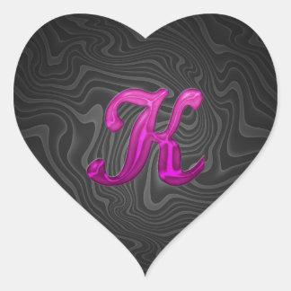 Inicial reluciente rosada - K Pegatina En Forma De Corazón