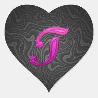 Inicial reluciente rosada - T Pegatina En Forma De Corazón