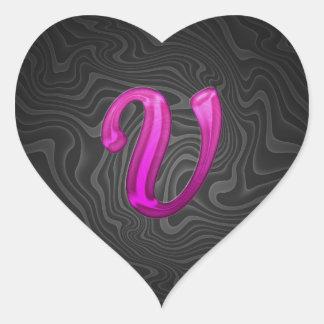 Inicial reluciente rosada - V Pegatina En Forma De Corazón