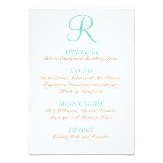 Inicial simple del menú anaranjado azul del boda anuncio personalizado