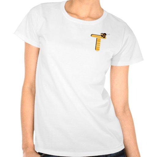 Inicial T de la abeja de la miel Camisetas
