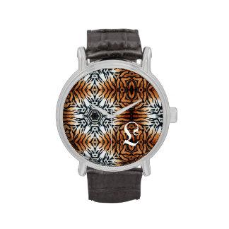 Inicial - tigre - reloj del estampado de animales