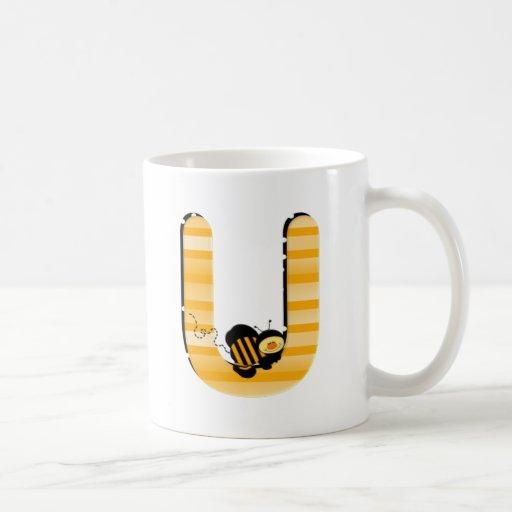 Inicial U de la abeja de la miel Taza De Café
