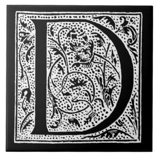 """Iniciales blancas de """"D"""" del negro del monograma Azulejo Cuadrado Grande"""
