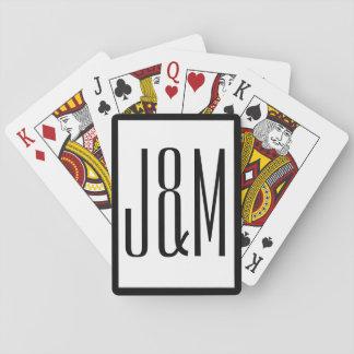 Iniciales blancas negras simples del monograma barajas de cartas