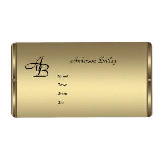 Iniciales de bronce elegantes de las etiquetas de etiqueta de envío