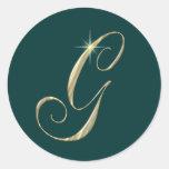 Iniciales de G de la letra del monograma del oro Etiqueta Redonda