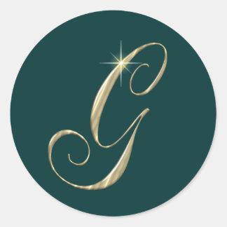 Iniciales de G de la letra del monograma del oro Pegatina Redonda