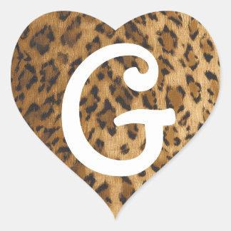 Iniciales del monograma de G del estampado Pegatina En Forma De Corazón