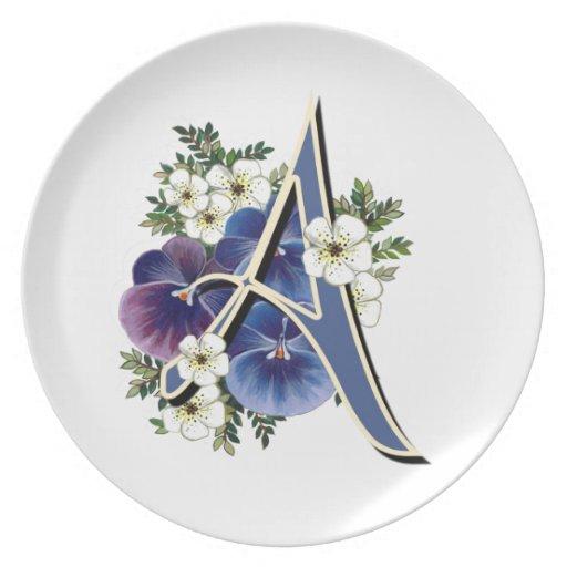 Iniciales del pensamiento en una placa de cena plato para fiesta