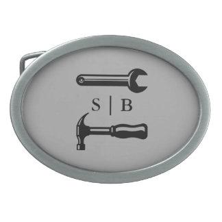 Iniciales del personalizado de la manitas del hebillas de cinturon ovales