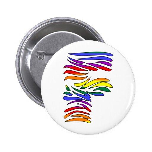 Iniciales F de la cebra del arco iris Pins