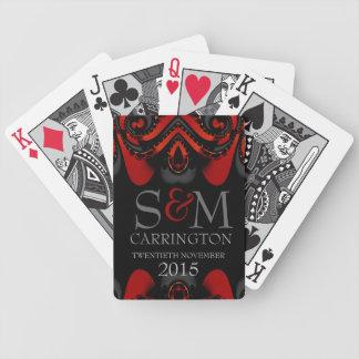 Iniciales góticas negras rojas exóticas baraja de cartas