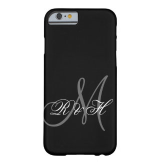 INICIALES GRISES NEGRAS DEL MONOGRAMA FUNDA DE iPhone 6 BARELY THERE