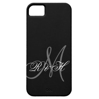 INICIALES GRISES NEGRAS DEL MONOGRAMA FUNDA PARA iPhone 5 BARELY THERE