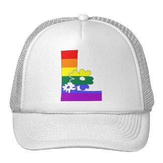 Iniciales L de la flor del arco iris Gorras
