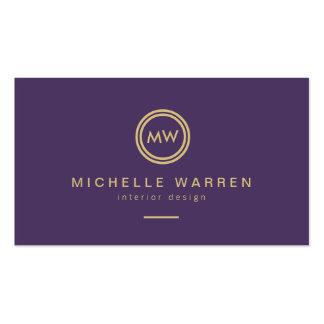 Iniciales modernas del monograma del círculo en pú tarjetas de visita
