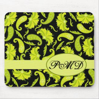 Iniciales negras verdes Paisley parisiense del mon Tapetes De Raton