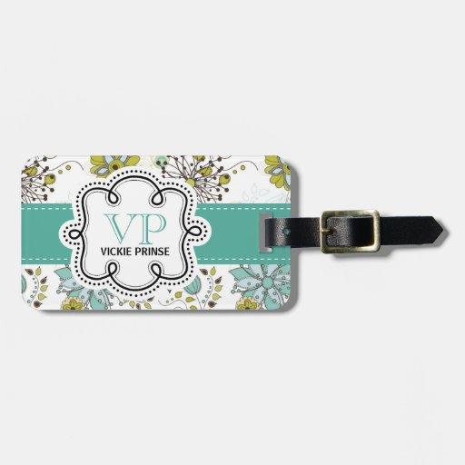 Iniciales personalizadas florales de la primavera  etiquetas para maletas