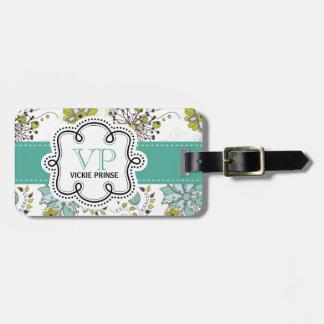Iniciales personalizadas florales de la primavera etiquetas bolsa