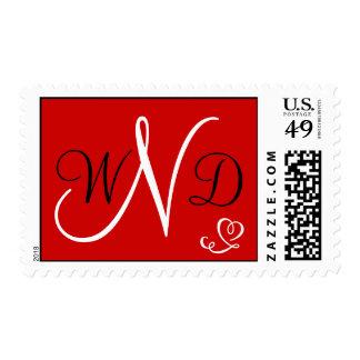 Iniciales rojas del monograma del corazón sellos