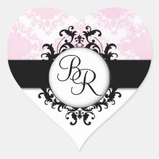 Iniciales rosadas elegantes del damasco que casan pegatina en forma de corazón