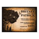 Iniciales talladas roble que casan invitaciones invitación 11,4 x 15,8 cm