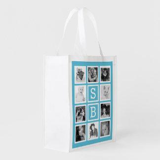Iniciales y collage modernos de la foto de bolsa reutilizable