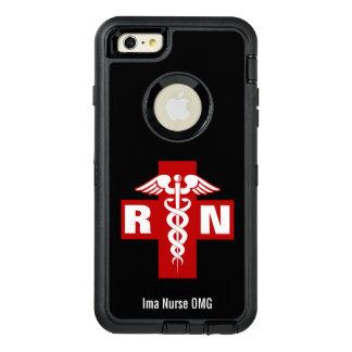 Iniciales y nombre del caduceo de la enfermera funda OtterBox defender para iPhone 6 plus