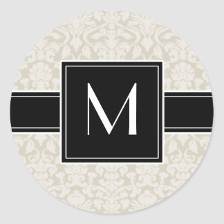 Inital with Ivory Beige Damask Classic Round Sticker