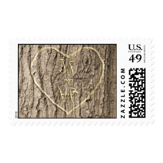 Initals Carved into Tree Stamp